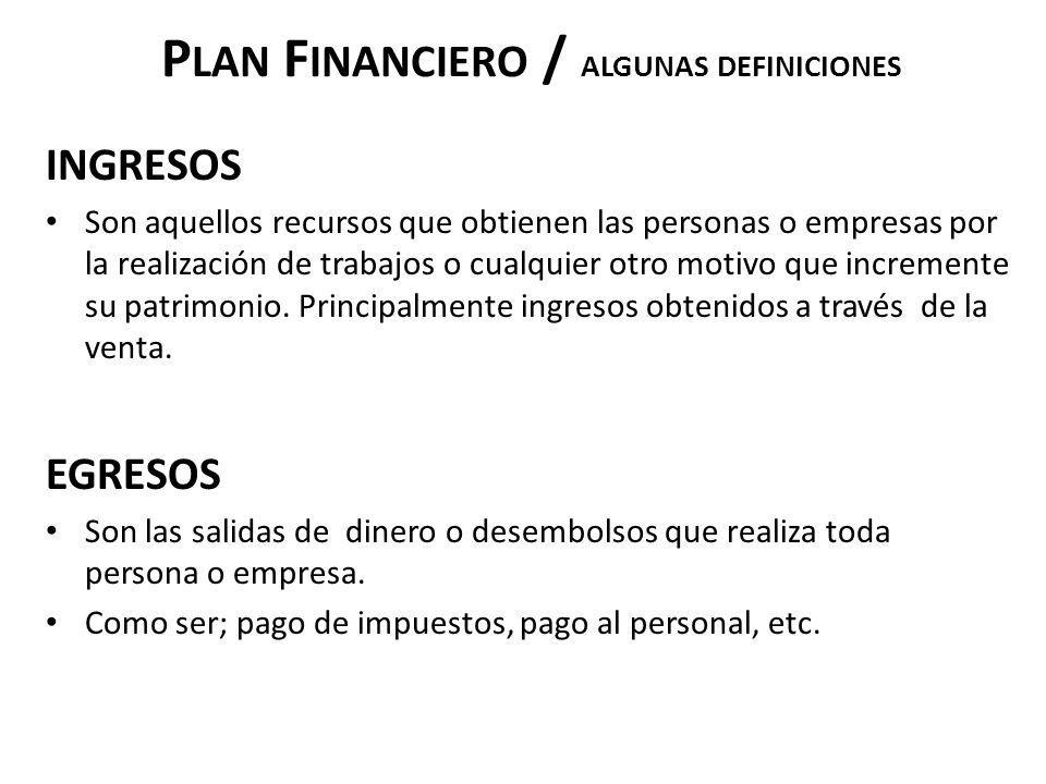 P LAN F INANCIERO / ALGUNAS DEFINICIONES INGRESOS Son aquellos recursos que obtienen las personas o empresas por la realización de trabajos o cualquie
