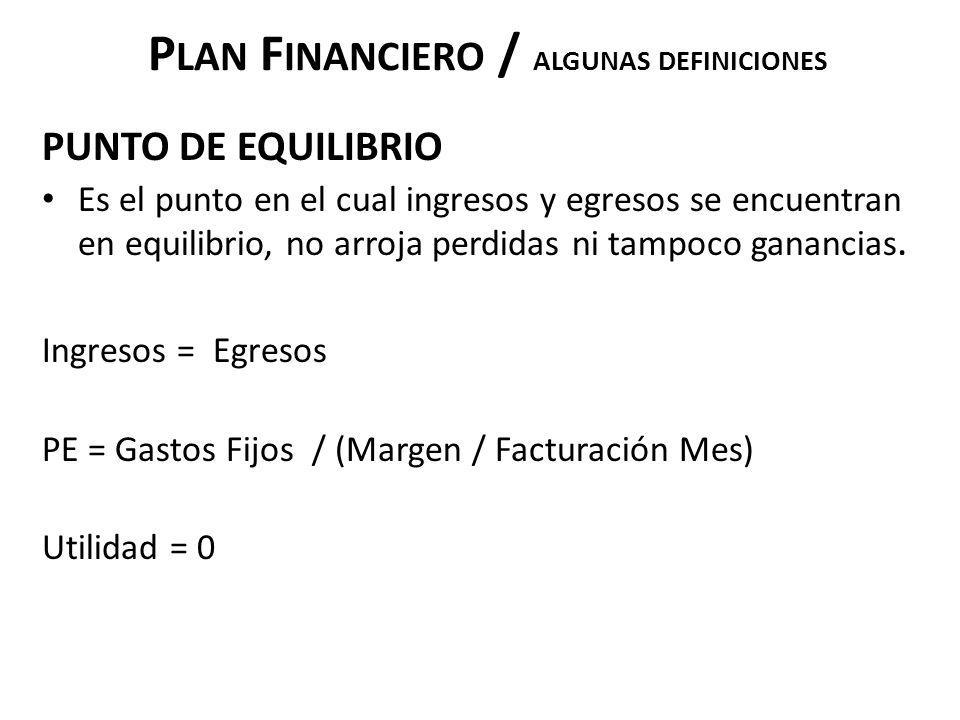 P LAN F INANCIERO / ALGUNAS DEFINICIONES PUNTO DE EQUILIBRIO Es el punto en el cual ingresos y egresos se encuentran en equilibrio, no arroja perdidas