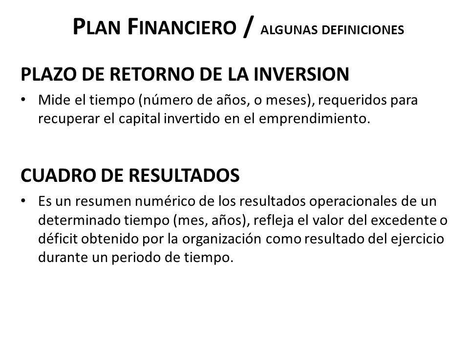 P LAN F INANCIERO / ALGUNAS DEFINICIONES PLAZO DE RETORNO DE LA INVERSION Mide el tiempo (número de años, o meses), requeridos para recuperar el capit