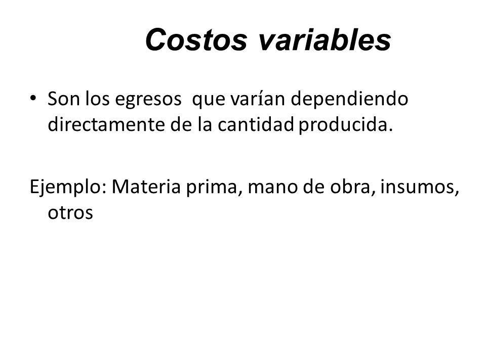 Costos variables Son los egresos que varían dependiendo directamente de la cantidad producida. Ejemplo: Materia prima, mano de obra, insumos, otros