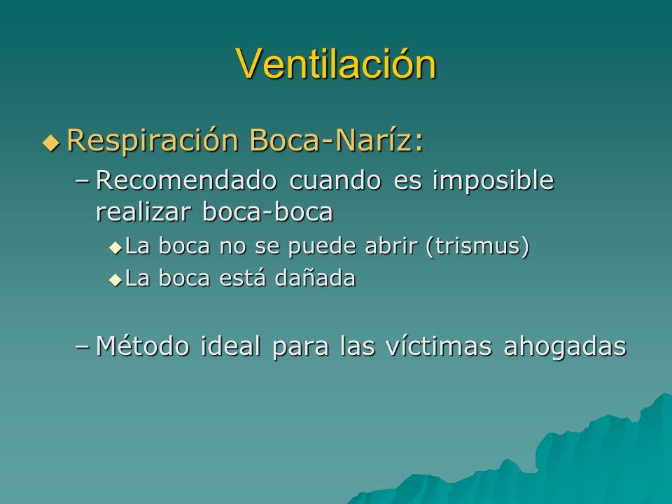 Ventilación Respiración Boca-Naríz: Respiración Boca-Naríz: –Recomendado cuando es imposible realizar boca-boca La boca no se puede abrir (trismus) La
