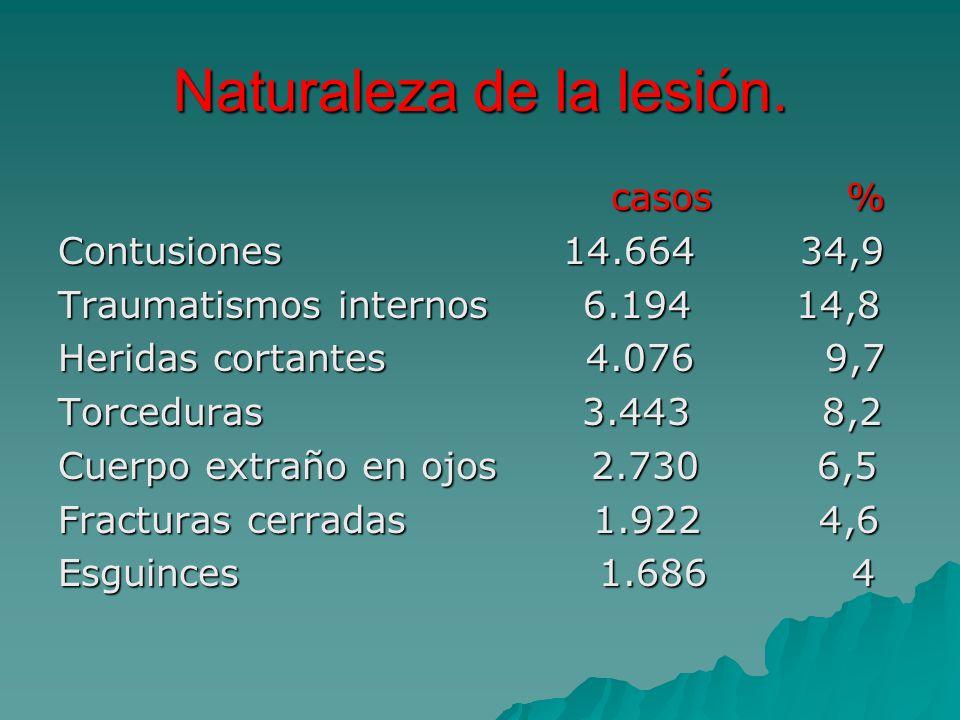 Naturaleza de la lesión. casos % casos % Contusiones 14.664 34,9 Traumatismos internos 6.194 14,8 Heridas cortantes 4.076 9,7 Torceduras 3.443 8,2 Cue