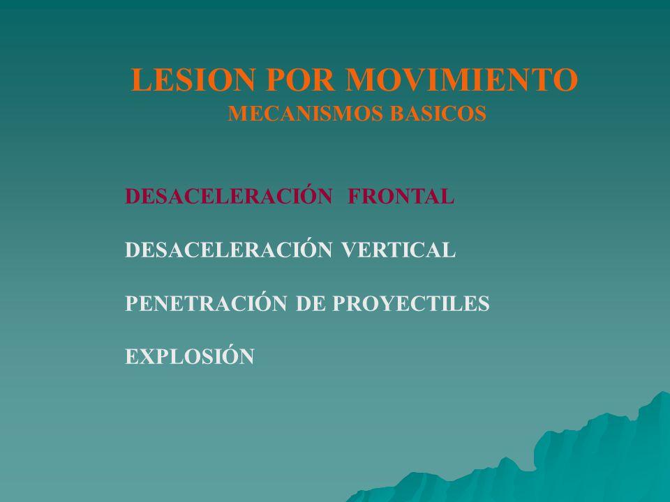 LESION POR MOVIMIENTO MECANISMOS BASICOS DESACELERACIÓN FRONTAL DESACELERACIÓN VERTICAL PENETRACIÓN DE PROYECTILES EXPLOSIÓN