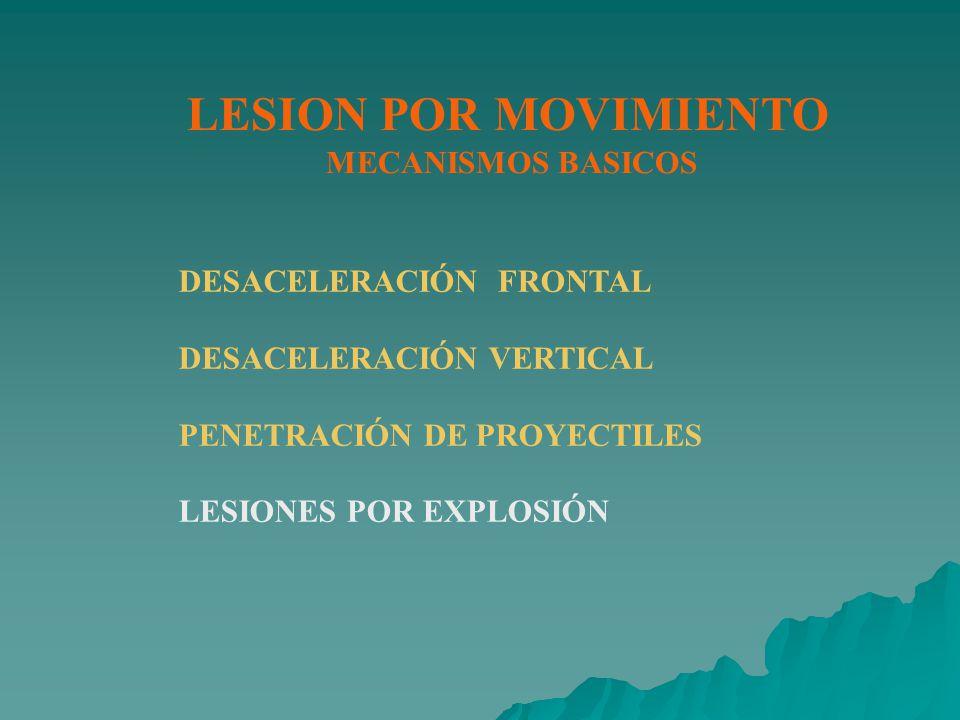 LESION POR MOVIMIENTO MECANISMOS BASICOS DESACELERACIÓN FRONTAL DESACELERACIÓN VERTICAL PENETRACIÓN DE PROYECTILES LESIONES POR EXPLOSIÓN
