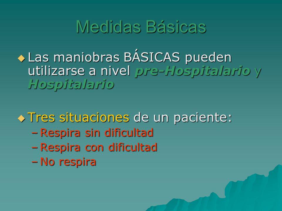 Medidas Básicas Las maniobras BÁSICAS pueden utilizarse a nivel pre-Hospitalario y Hospitalario Las maniobras BÁSICAS pueden utilizarse a nivel pre-Ho