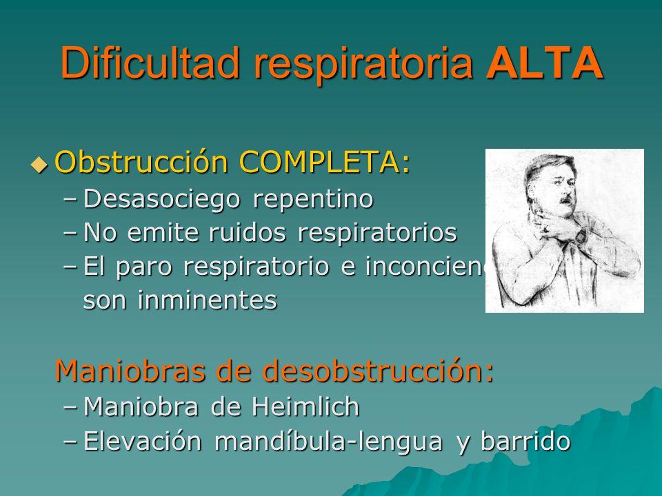 Obstrucción COMPLETA: Obstrucción COMPLETA: –Desasociego repentino –No emite ruidos respiratorios –El paro respiratorio e inconciencia son inminentes Maniobras de desobstrucción: –Maniobra de Heimlich –Elevación mandíbula-lengua y barrido Dificultad respiratoria ALTA