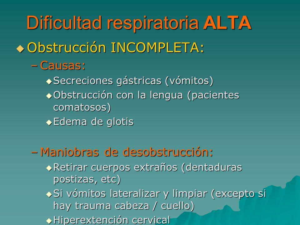 Obstrucción INCOMPLETA: Obstrucción INCOMPLETA: –Causas: Secreciones gástricas (vómitos) Secreciones gástricas (vómitos) Obstrucción con la lengua (pa