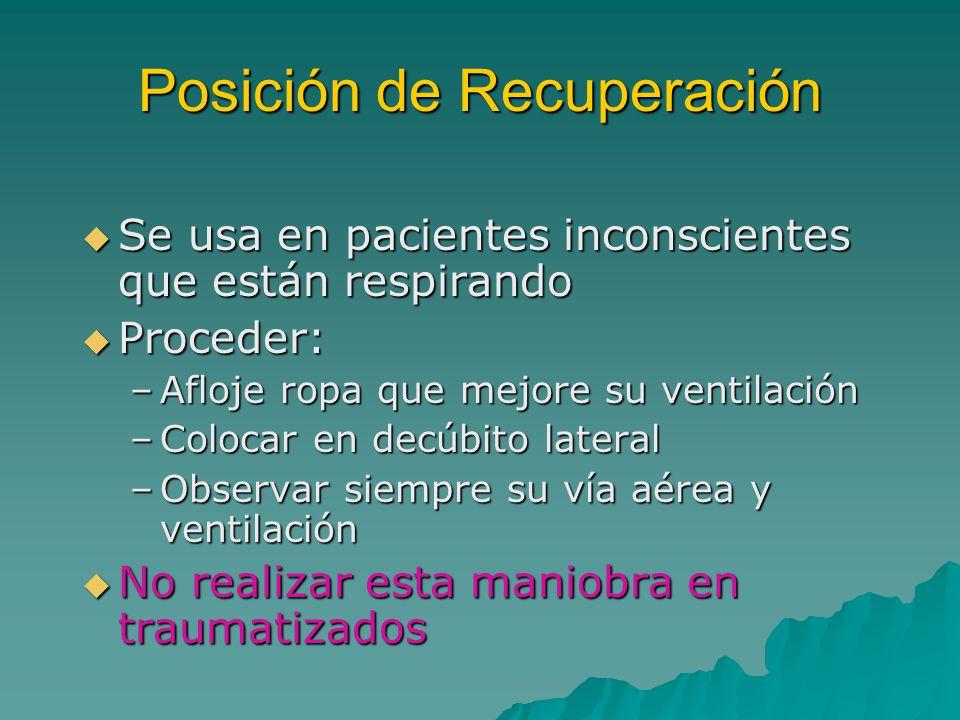 Posición de Recuperación Se usa en pacientes inconscientes que están respirando Se usa en pacientes inconscientes que están respirando Proceder: Proce