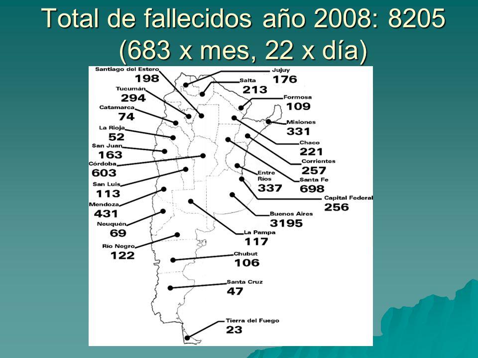 Total de fallecidos año 2008: 8205 (683 x mes, 22 x día)