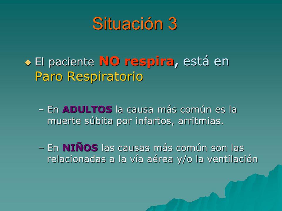 Situación 3 El paciente NO respira, está en Paro Respiratorio El paciente NO respira, está en Paro Respiratorio –En ADULTOS la causa más común es la muerte súbita por infartos, arritmias.
