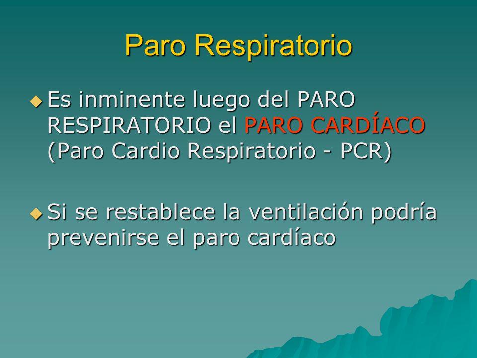 Paro Respiratorio Es inminente luego del PARO RESPIRATORIO el PARO CARDÍACO (Paro Cardio Respiratorio - PCR) Es inminente luego del PARO RESPIRATORIO el PARO CARDÍACO (Paro Cardio Respiratorio - PCR) Si se restablece la ventilación podría prevenirse el paro cardíaco Si se restablece la ventilación podría prevenirse el paro cardíaco