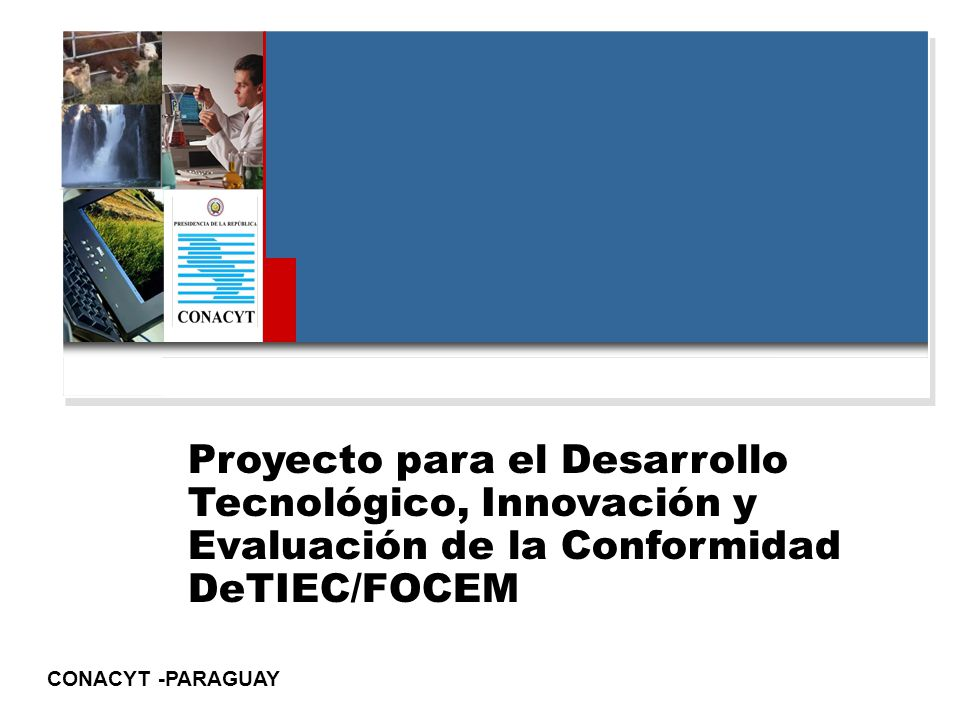 CONACYT -PARAGUAY Proyecto para el Desarrollo Tecnológico, Innovación y Evaluación de la Conformidad DeTIEC/FOCEM