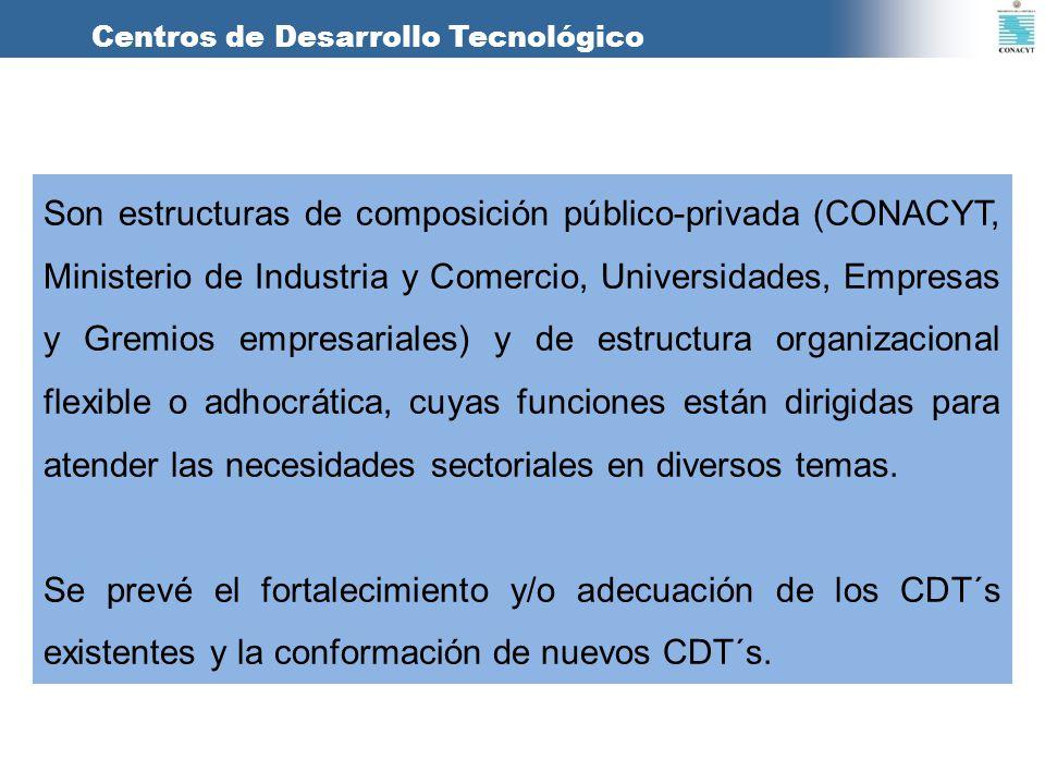 Centros de Desarrollo Tecnológico Son estructuras de composición público-privada (CONACYT, Ministerio de Industria y Comercio, Universidades, Empresas