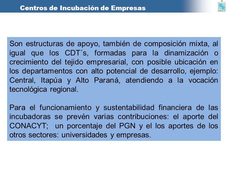 Centros de Incubación de Empresas Son estructuras de apoyo, también de composición mixta, al igual que los CDT´s, formadas para la dinamización o crec