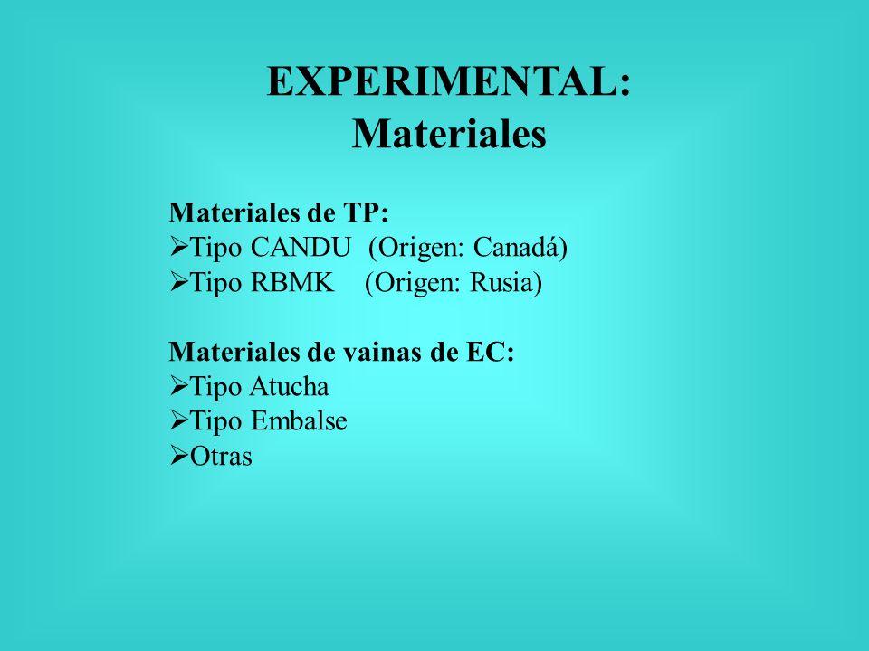 EXPERIMENTAL: Materiales Materiales de TP: Tipo CANDU (Origen: Canadá) Tipo RBMK (Origen: Rusia) Materiales de vainas de EC: Tipo Atucha Tipo Embalse Otras
