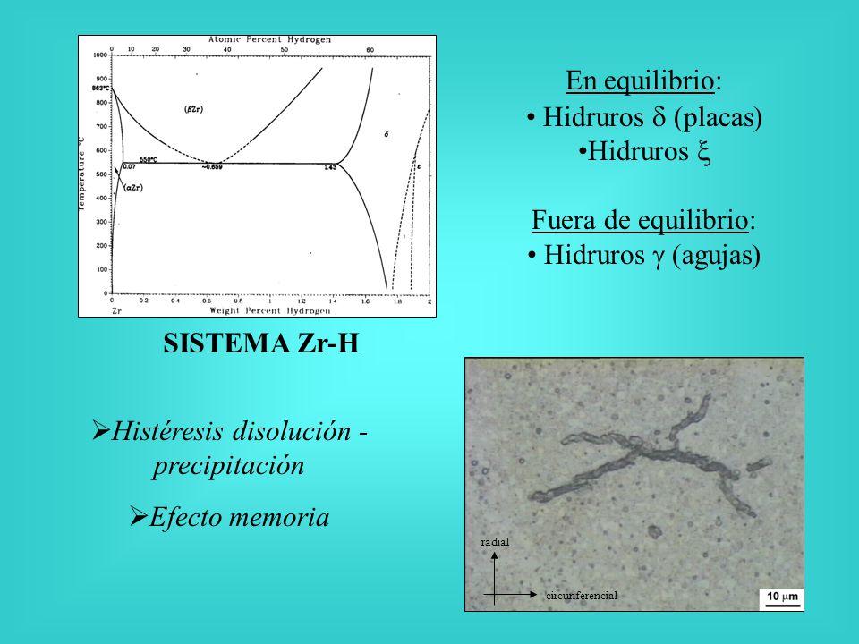 SISTEMA Zr-H En equilibrio: Hidruros (placas) Hidruros Fuera de equilibrio: Hidruros (agujas) radial circunferencial Histéresis disolución - precipitación Efecto memoria
