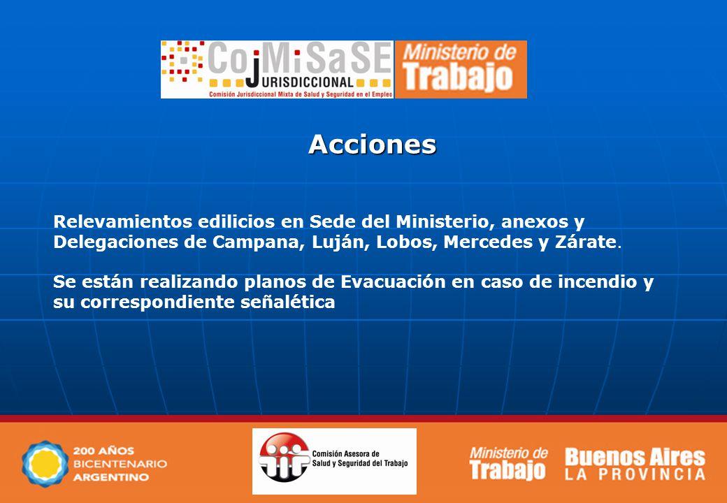 Acciones Relevamientos edilicios en Sede del Ministerio, anexos y Delegaciones de Campana, Luján, Lobos, Mercedes y Zárate.