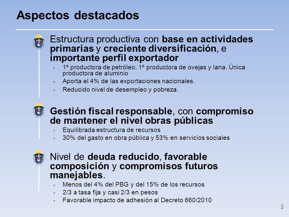 Estructura productiva con base en actividades primarias y creciente diversificación, e importante perfil exportador 1ª productora de petróleo.
