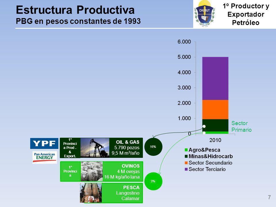 Estructura Productiva PBG en pesos constantes de 1993 PESCA Langostino Calamar OVINOS 4 M ovejas 16 M kg/año lana 1º Provinci a OIL & GAS 5.790 pozos 9,5 M m 3 /año 1º Provinci a Prod.