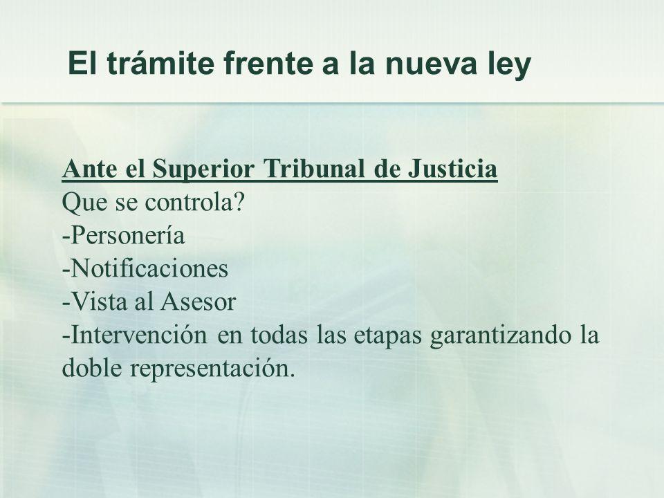 Ante el Superior Tribunal de Justicia Que se controla.