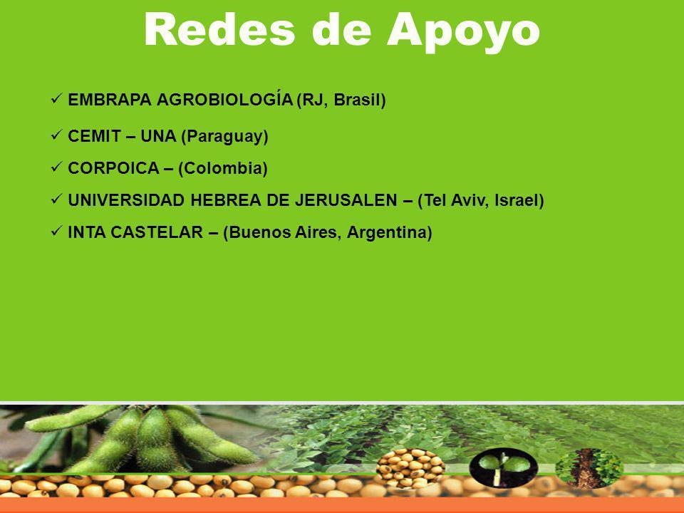 Redes de Apoyo EMBRAPA AGROBIOLOGÍA (RJ, Brasil) CEMIT – UNA (Paraguay) CORPOICA – (Colombia) UNIVERSIDAD HEBREA DE JERUSALEN – (Tel Aviv, Israel) INT