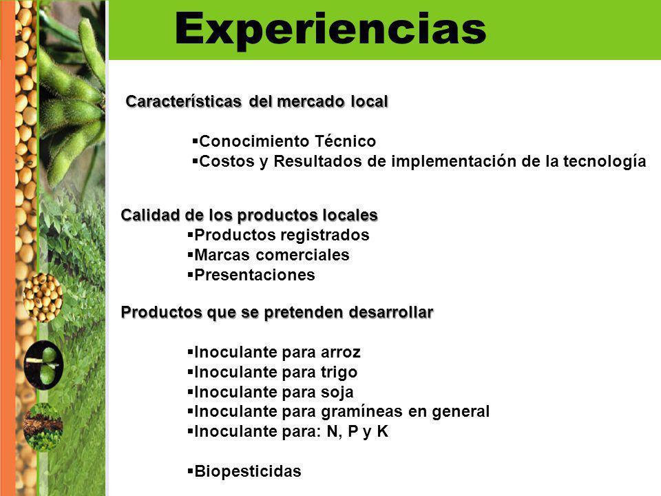 Experiencias Características del mercado local Conocimiento Técnico Costos y Resultados de implementación de la tecnología Calidad de los productos lo