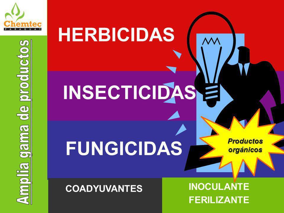 INSECTICIDAS FUNGICIDAS COADYUVANTES INOCULANTE FERILIZANTE HERBICIDAS Productos orgánicos