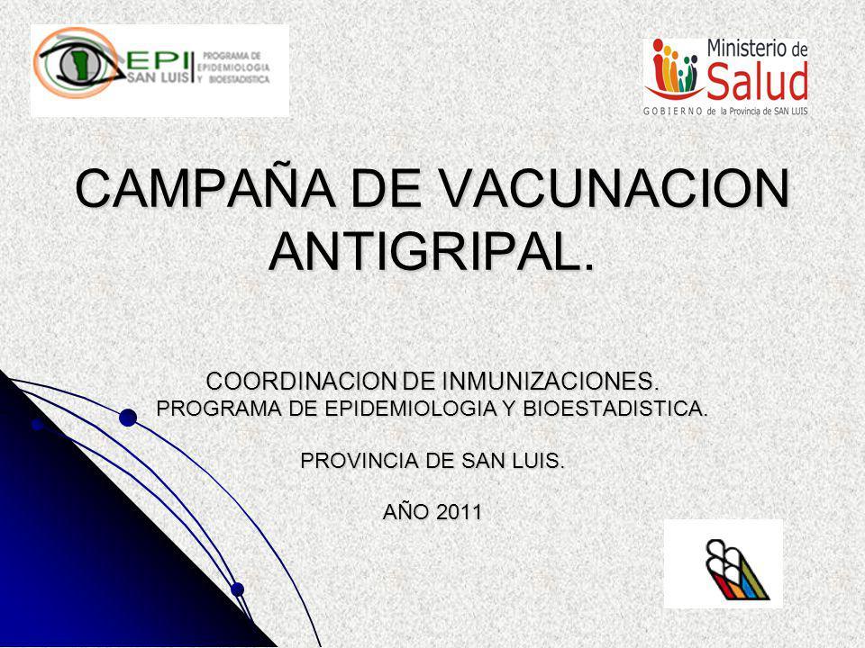 CAMPAÑA DE VACUNACION ANTIGRIPAL 2011 PROPOSITOS Disminuir la incidencia, internación, complicaciones, secuelas y mortalidad por virus de Influenza en la población de riesgo en la provincia.