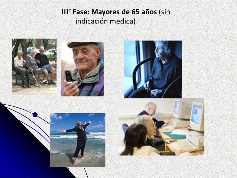 III° Fase: Mayores de 65 años (sin indicación medica)