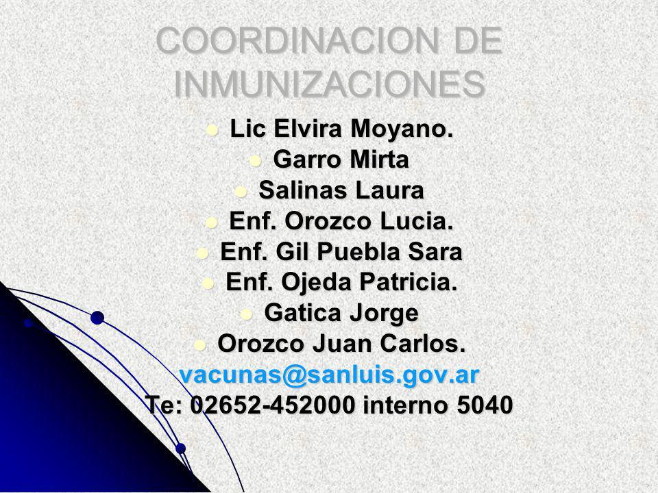 COORDINACION DE INMUNIZACIONES Lic Elvira Moyano. Lic Elvira Moyano.