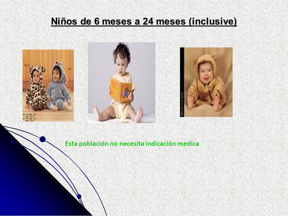 Niños de 6 meses a 24 meses (inclusive) Esta población no necesita indicación medica