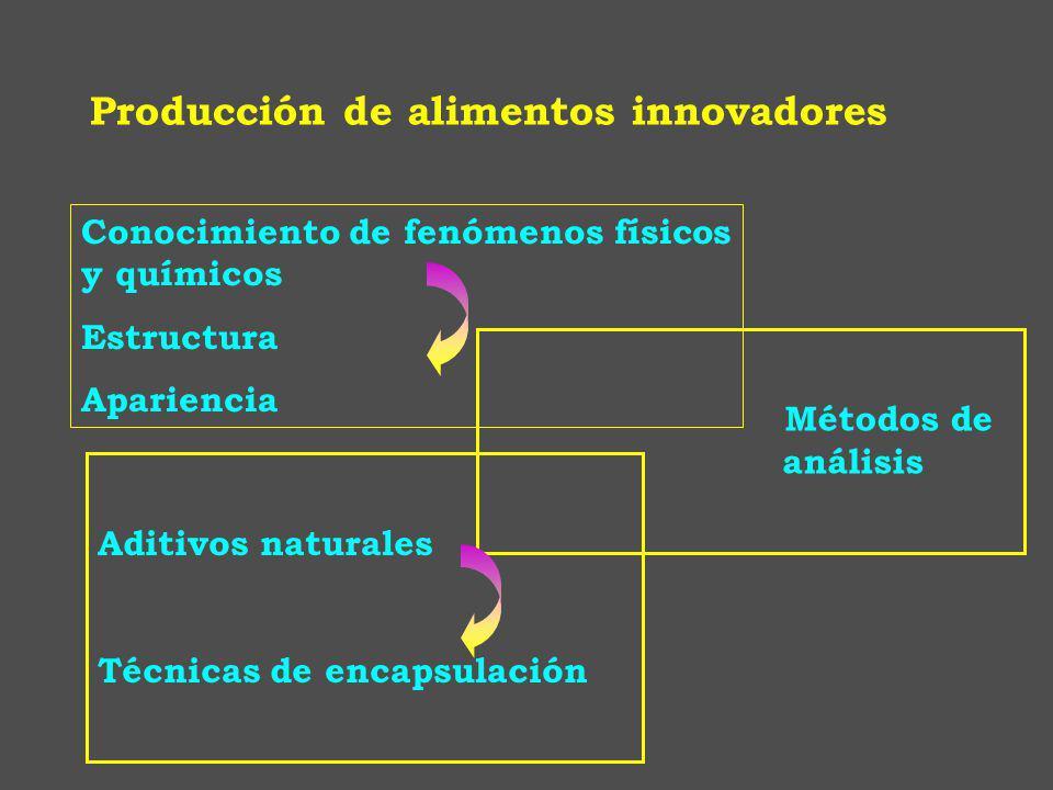 Conocimiento de fenómenos físicos y químicos Estructura Apariencia Aditivos naturales Técnicas de encapsulación Métodos de análisis Producción de alimentos innovadores
