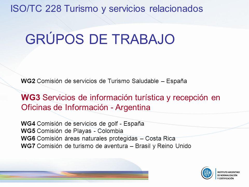 WG2 Comisión de servicios de Turismo Saludable – España WG3 Servicios de información turística y recepción en Oficinas de Información - Argentina WG4