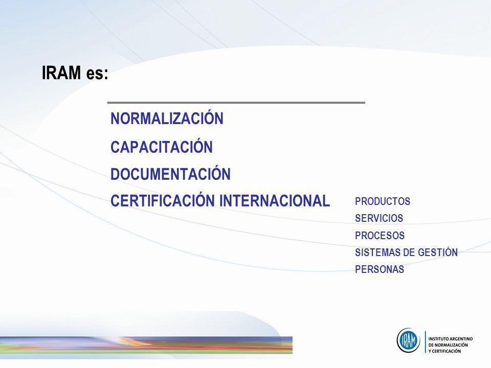 IRAM es: NORMALIZACIÓN CAPACITACIÓN DOCUMENTACIÓN CERTIFICACIÓN INTERNACIONAL PRODUCTOS SERVICIOS PROCESOS SISTEMAS DE GESTIÓN PERSONAS