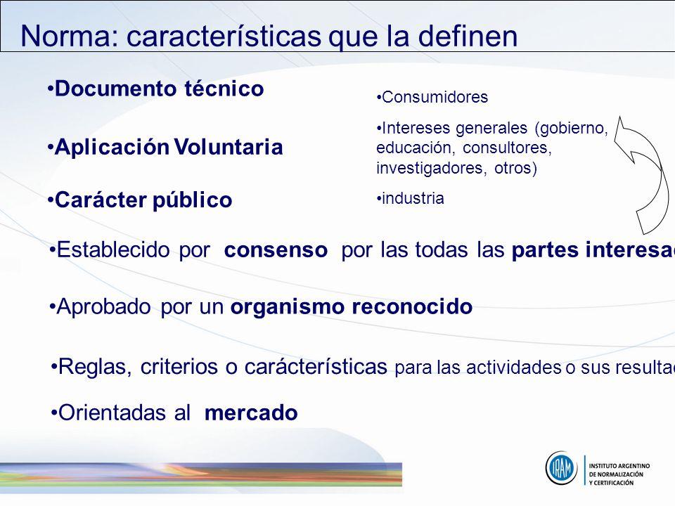 Reglas, criterios o carácterísticas para las actividades o sus resultados Establecido por consenso por las todas las partes interesadas Documento técn