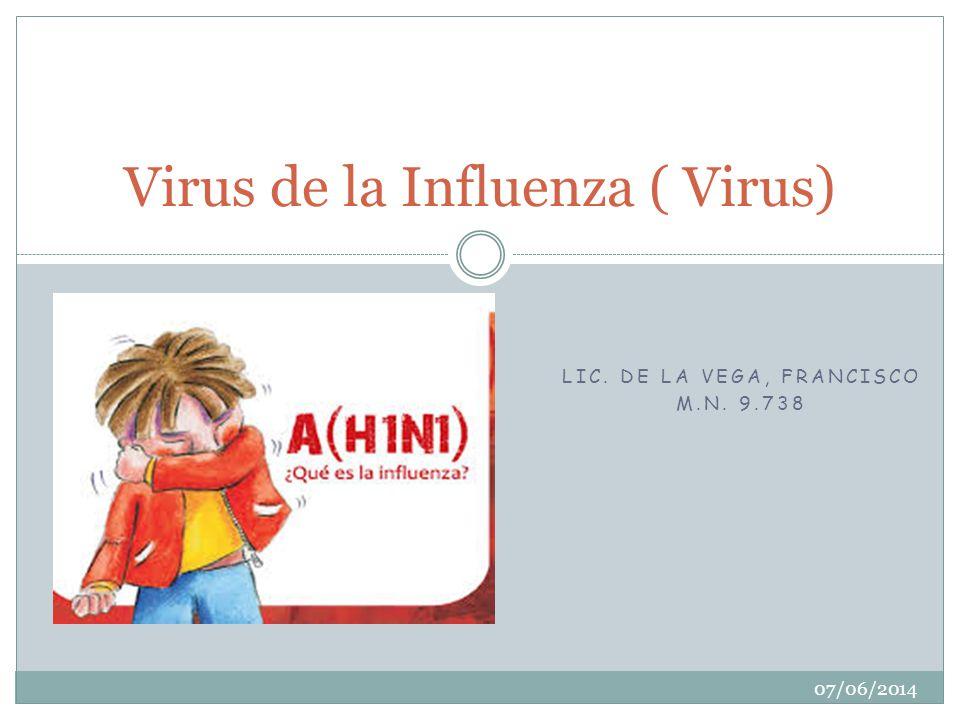LIC. DE LA VEGA, FRANCISCO M.N. 9.738 Virus de la Influenza ( Virus) 07/06/2014