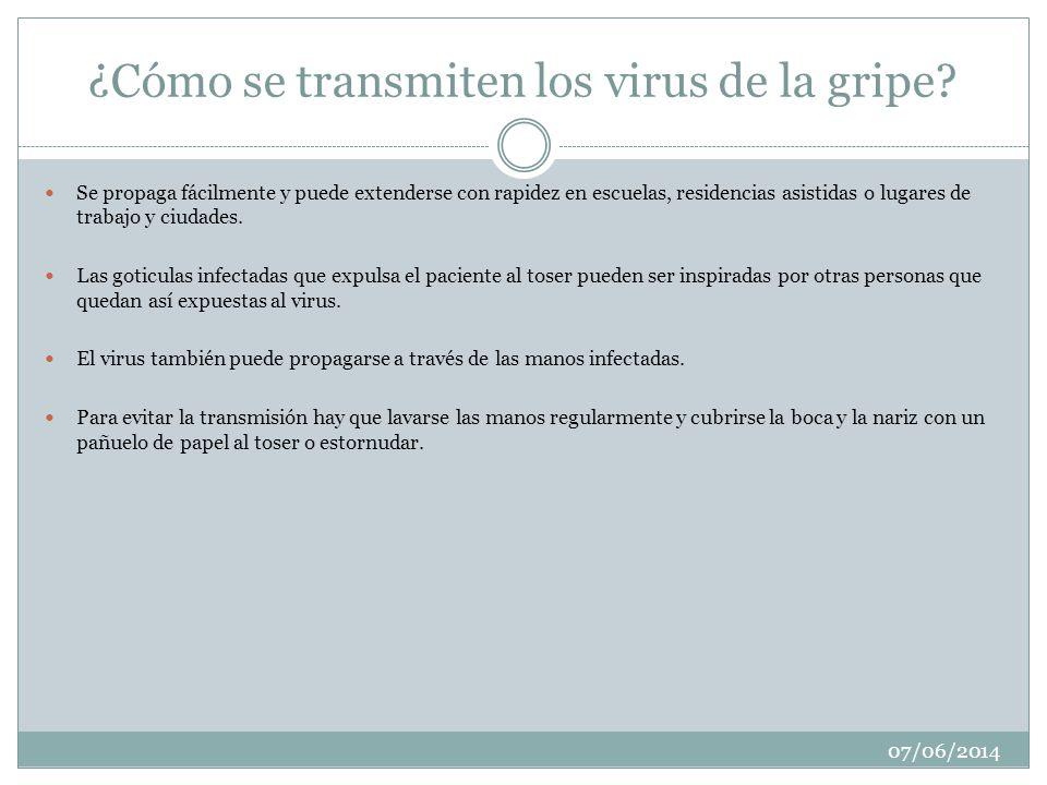 ¿Cómo se transmiten los virus de la gripe? Se propaga fácilmente y puede extenderse con rapidez en escuelas, residencias asistidas o lugares de trabaj