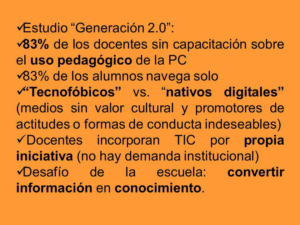Estudio Generación 2.0: 83% de los docentes sin capacitación sobre el uso pedagógico de la PC 83% de los alumnos navega solo Tecnofóbicos vs. nativos