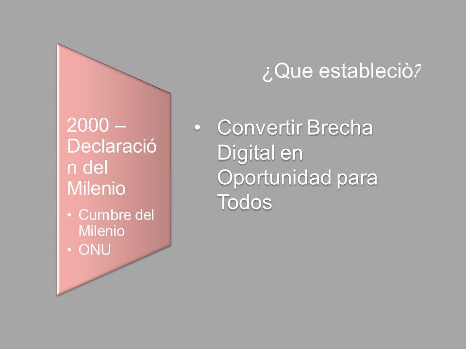 2000 – Declaració n del Milenio Cumbre del Milenio ONU Convertir Brecha Digital en Oportunidad para Todos ¿Que estableciò ?