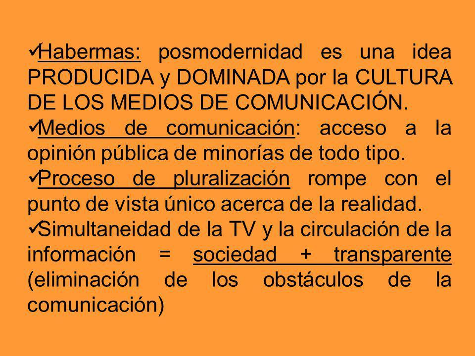 Habermas: posmodernidad es una idea PRODUCIDA y DOMINADA por la CULTURA DE LOS MEDIOS DE COMUNICACIÓN. Medios de comunicación: acceso a la opinión púb