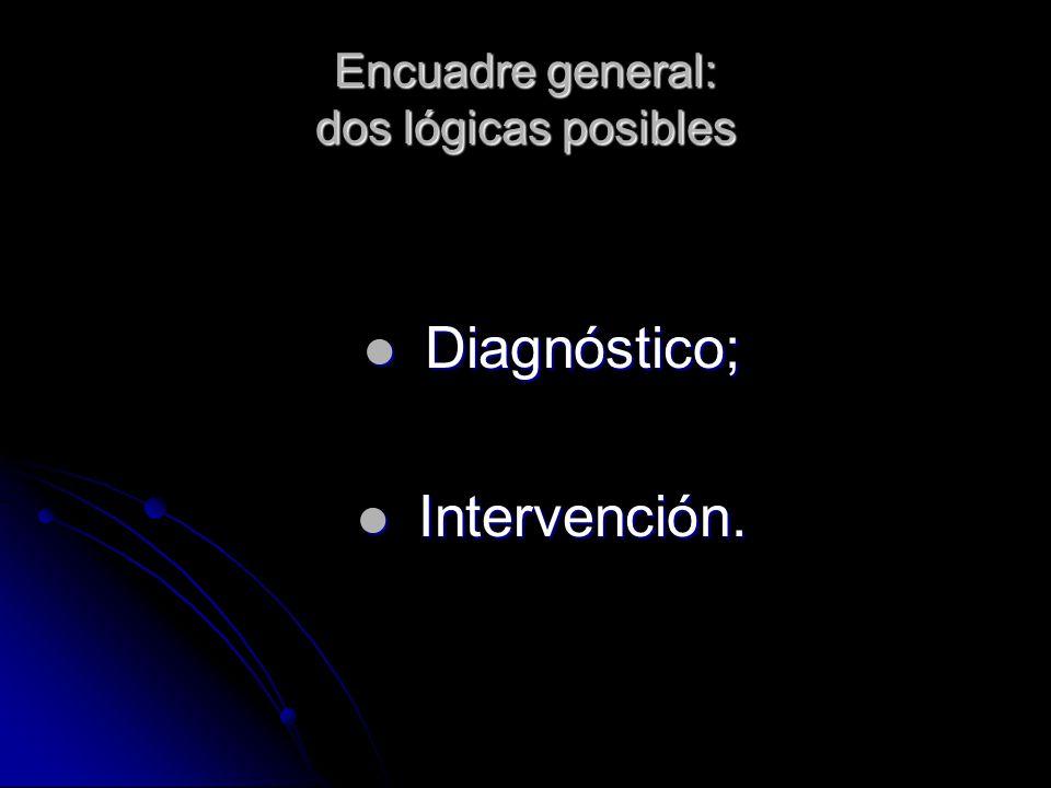 Dentro de dichas lógicas, tres tipos de demandas posibles: Pericial propiamente dicha; Pericial propiamente dicha; Pericial-diagnóstica (en sentido amplio); Pericial-diagnóstica (en sentido amplio); Seguimiento.Seguimiento.