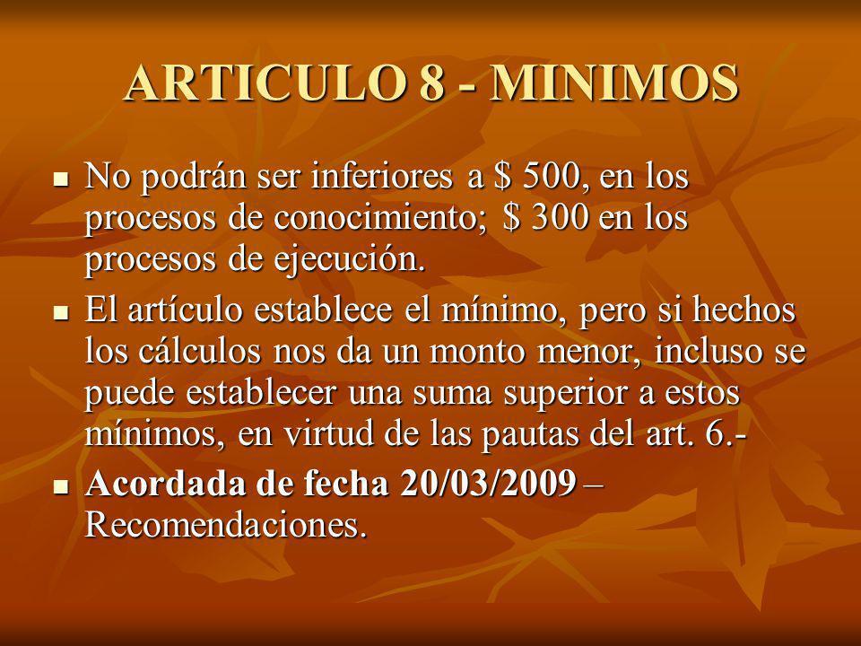 ARTICULO 8 - MINIMOS No podrán ser inferiores a $ 500, en los procesos de conocimiento; $ 300 en los procesos de ejecución.