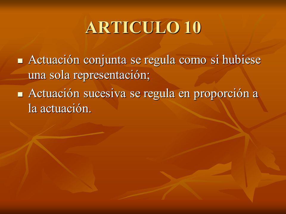 ARTICULO 10 Actuación conjunta se regula como si hubiese una sola representación; Actuación conjunta se regula como si hubiese una sola representación; Actuación sucesiva se regula en proporción a la actuación.