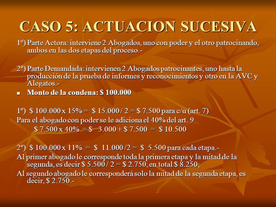 CASO 5: ACTUACION SUCESIVA 1º) Parte Actora: interviene 2 Abogados, uno con poder y el otro patrocinando, ambos en las dos etapas del proceso.- 2º) Pa