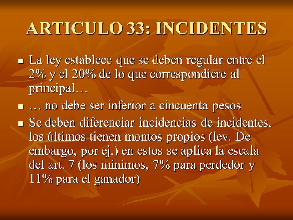 ARTICULO 33: INCIDENTES La ley establece que se deben regular entre el 2% y el 20% de lo que correspondiere al principal… La ley establece que se debe