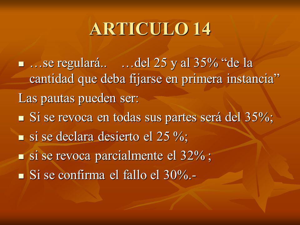 ARTICULO 14 …se regulará.. …del 25 y al 35% de la cantidad que deba fijarse en primera instancia …se regulará.. …del 25 y al 35% de la cantidad que de