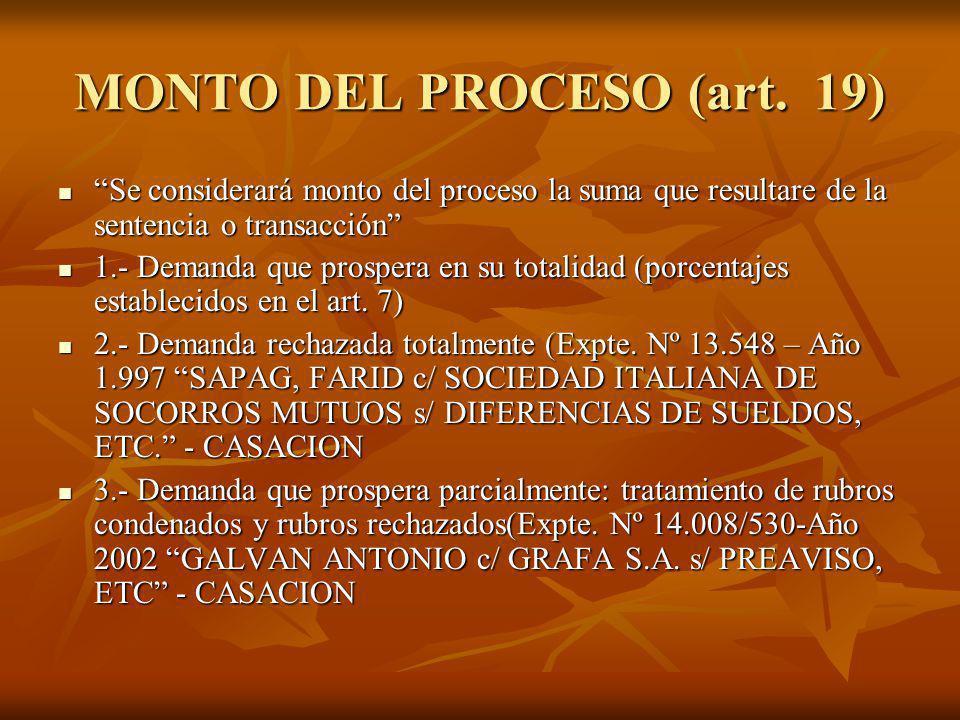 MONTO DEL PROCESO (art. 19) Se considerará monto del proceso la suma que resultare de la sentencia o transacción Se considerará monto del proceso la s