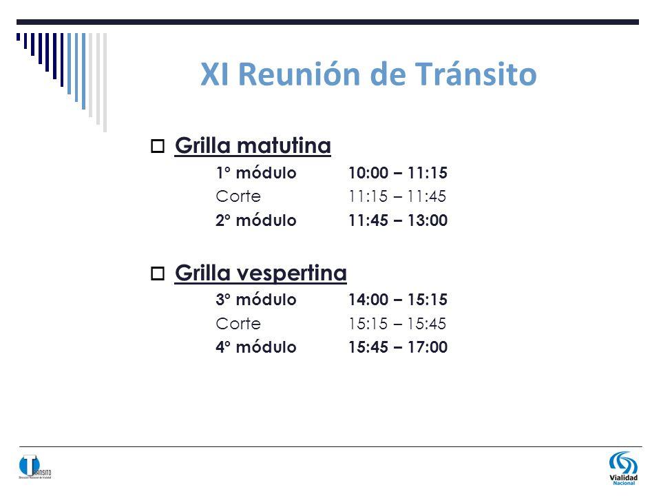 XI Reunión de Tránsito Grilla matutina 1º módulo10:00 – 11:15 Corte11:15 – 11:45 2º módulo11:45 – 13:00 Grilla vespertina 3º módulo14:00 – 15:15 Corte15:15 – 15:45 4º módulo15:45 – 17:00