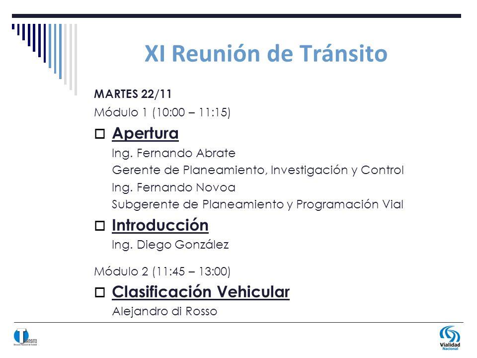 XI Reunión de Tránsito MARTES 22/11 Módulo 1 (10:00 – 11:15) Apertura Ing.