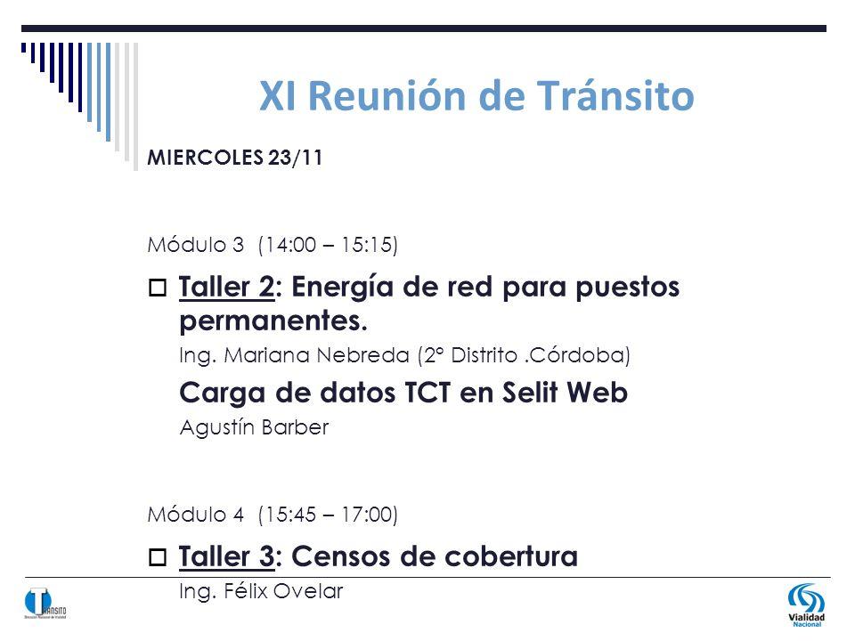 XI Reunión de Tránsito MIERCOLES 23/11 Módulo 3 (14:00 – 15:15) Taller 2: Energía de red para puestos permanentes.